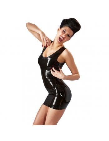 Mini robe en latex noir