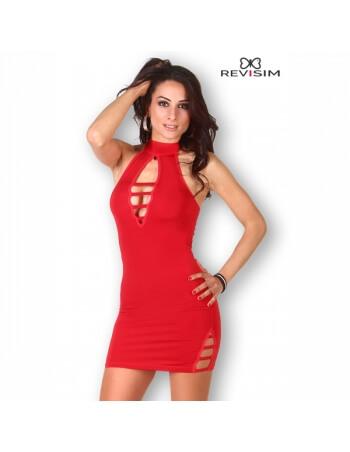 Robe rouge ajourée à col haut