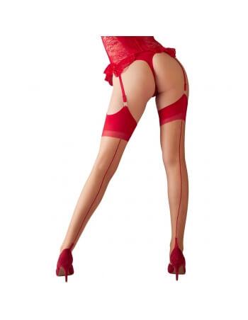 Bas couture rouge en voile chair