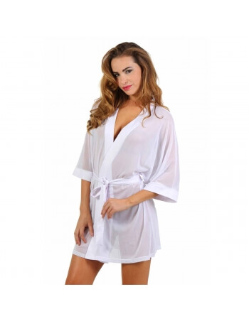 Robe kimono blanche en tulle