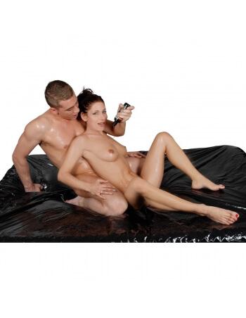 Drap housse en vinyle noir 160x200 cm