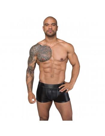 Boxer noir wetlook et résille avec zip