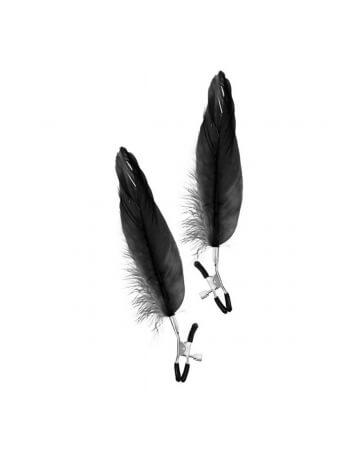 Pinces à seins avec plumes d'oie noires