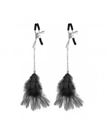 Pinces à seins pendentifs avec plumes noires