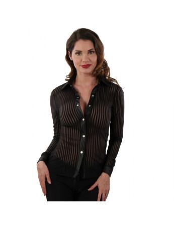 Chemise rayée en tulle noir