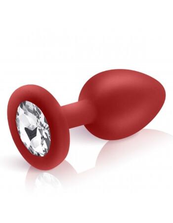 Plug bijou Cloud en silicone rouge et pierre blanche S