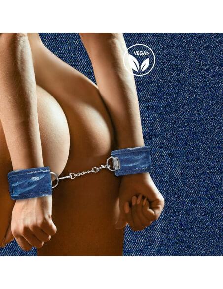 Larges menottes poignets en denim bleu