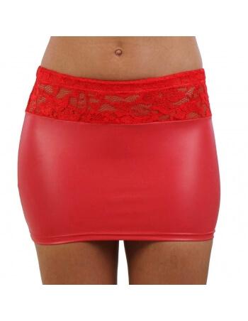 Mini jupe en wetlook et résille dentelle rouges