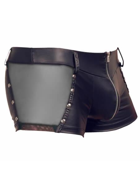 Boxer zippé en wetlook noir et voile transparent