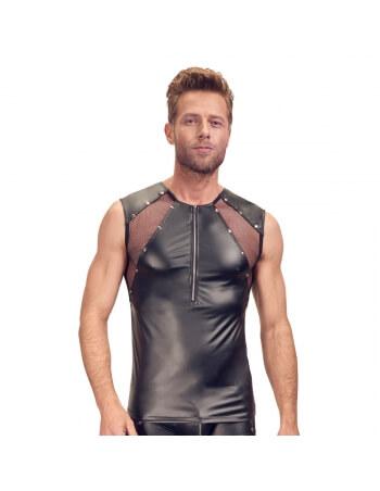 Tee-shirt zippé en wetlook noir et résille transparente