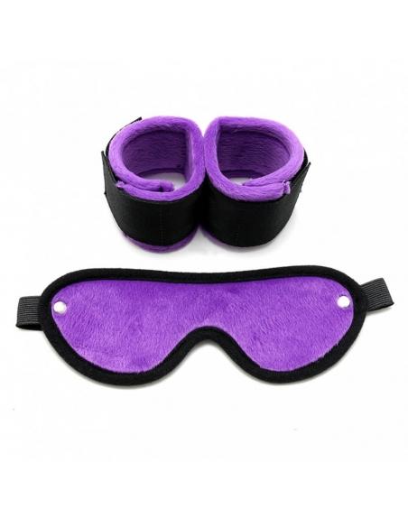 2 menottes douces et masque violets