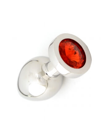 Plug en acier et pierre rouge S