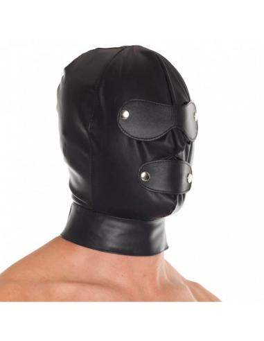 Cagoule en cuir ajustable et ouvrable Rimba - Accessoires BDSM, fetish, bondage - Sexy Center